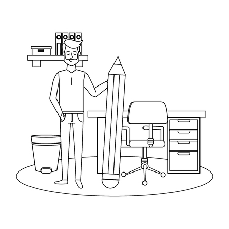 businessman at office with big pencil cartoon vector illustration graphic design