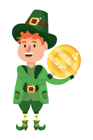 st patricks day leprechaun with coin cartoon vector illustration graphic design