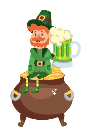 st patricks day leprechaun with golden coins pot and beer cartoon vector illustration graphic design Illustration