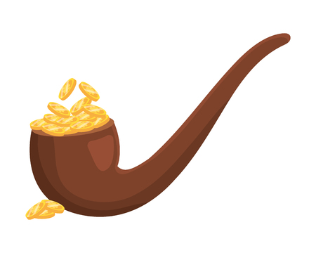 pipe full of gold icon isolated vector illustration graphic design