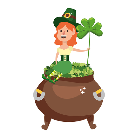 leprechaun with pot of clovers female vector illustration graphic design
