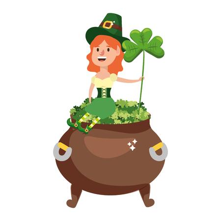 leprechaun with pot of clovers female vector illustration graphic design