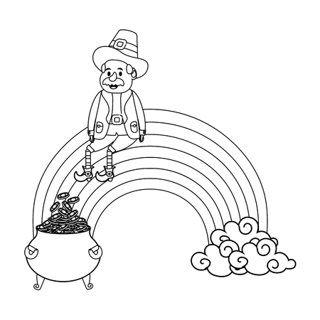 leprechaun with pot of gold rainbow black and white vector illustration graphic design