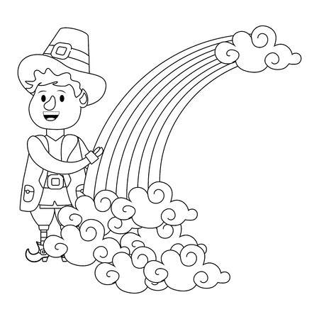 leprechaun with rainbow young black and white vector illustration graphic design Ilustração