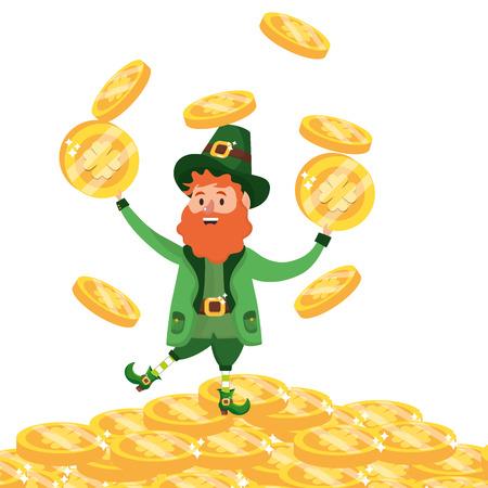 st patricks day leprechauns with golden coins cartoon vector illustration graphic design