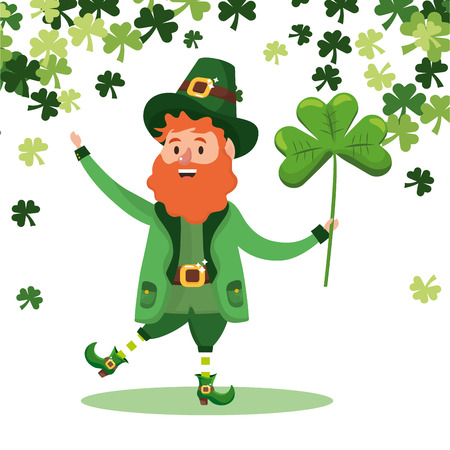 st patricks day leprechauns holding clover cartoon vector illustration graphic design Illustration