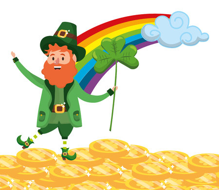 st patricks day leprechauns with rainbow and golden coins holding clover cartoon vector illustration graphic design