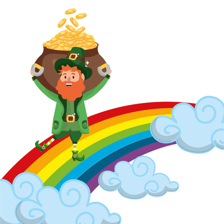 st patricks day leprechauns with rainbow and golden coins pot cartoon vector illustration graphic design