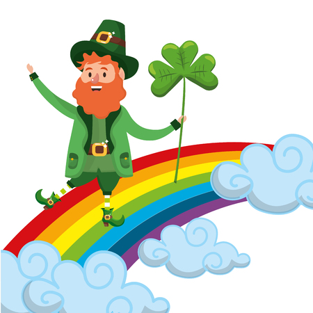 st patricks day leprechauns with rainbow holding clover vector illustration graphic design