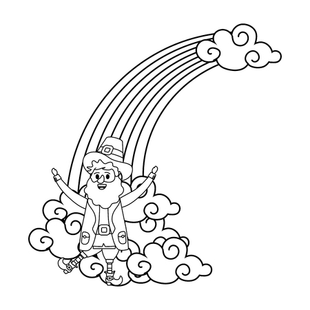 st patricks day leprechauns with rainbow cartoon vector illustration graphic design