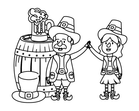 leprechaun couple with barrel beer and hat black and white vector illustration graphic design