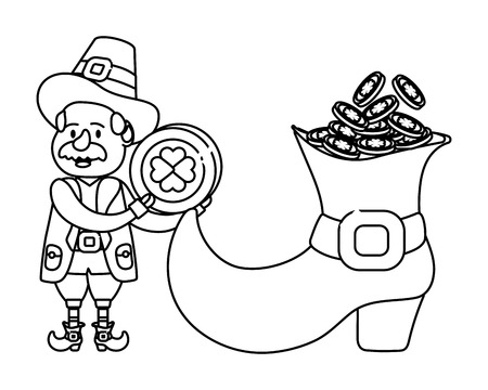 leprechaun with big boot and golden coins moustache black and white vector illustration graphic design Vectores