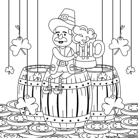 leprechaun with barrel beer clovers moustache black and white vector illustration graphic design