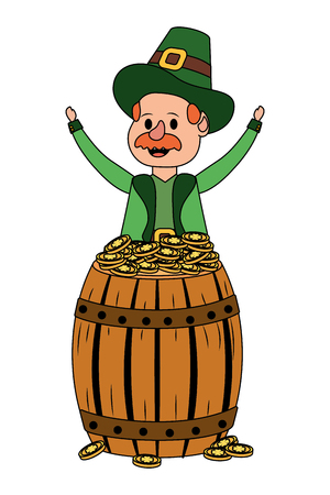leprechaun with barrel and golden coin moustache vector illustration graphic design