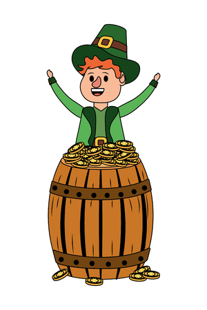 leprechaun with barrel and golden coin young vector illustration graphic design  イラスト・ベクター素材