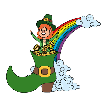 leprechaun with big boot and golden coins rainbow female vector illustration graphic design