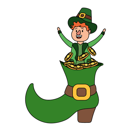 leprechaun with big boot and golden coins young vector illustration graphic design Ilustração