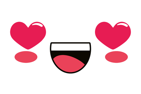 cute kawaii lovely emoticon face smiling in love cartoon vector illustration graphic design