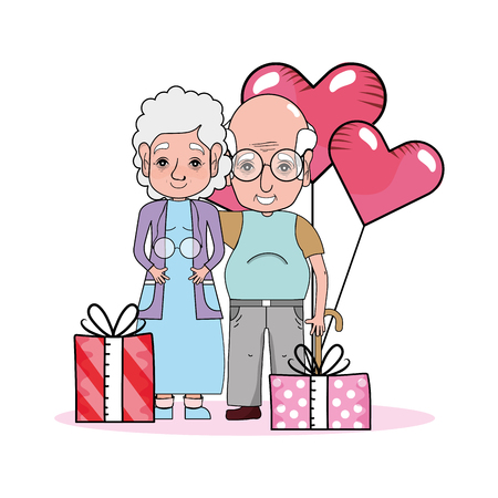 cute grandparents couple at valentines day between gifts and heart balloons cartoon vector illustration graphic design  イラスト・ベクター素材