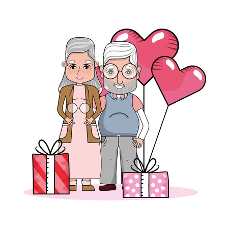 cute grandparents couple at valentines day between gifts and heart balloons cartoon vector illustration graphic design Illustration