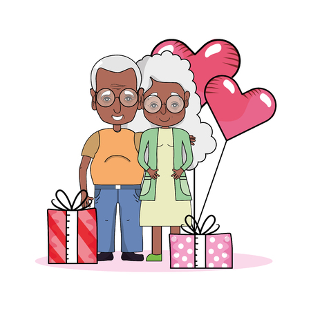 cute grandparents couple at valentines day between gifts and heart balloons cartoon vector illustration graphic design 일러스트