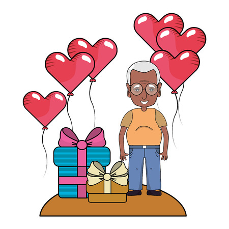 cute grandfather at valentines day between gifts and heart balloons cartoon vector illustration graphic design Illustration