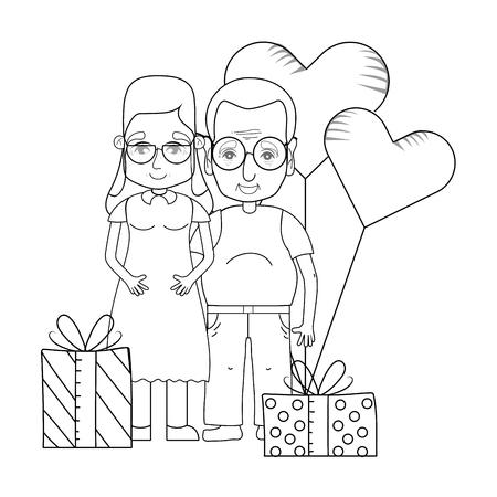 cute grandparents couple cartoon Illustration