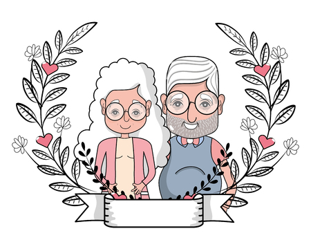 cute grandparents couple at flowers wreath with banner cartoon vector illustration graphic design Illustration
