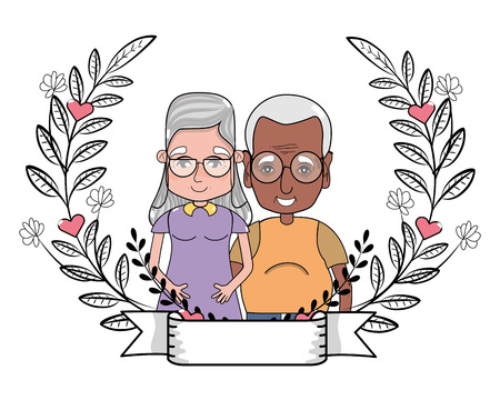 cute grandparents couple at flowers wreath with banner cartoon vector illustration graphic design 일러스트
