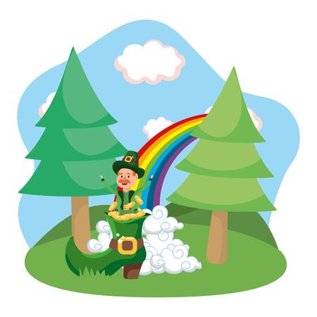 leprechaun gold rainbow vector illustration
