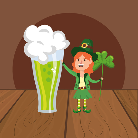 leprechaun beer green clover vector illustration
