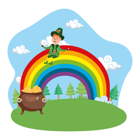 leprechaun gold rainbow vector illustration Ilustrace