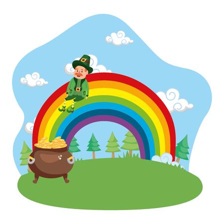 leprechaun gold rainbow vector illustration Illustration