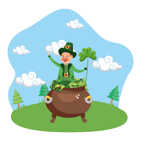 leprechaun pot clover lucky vector illustration