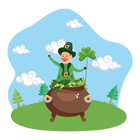Leprechaun pot trèfle lucky vector illustration Vecteurs