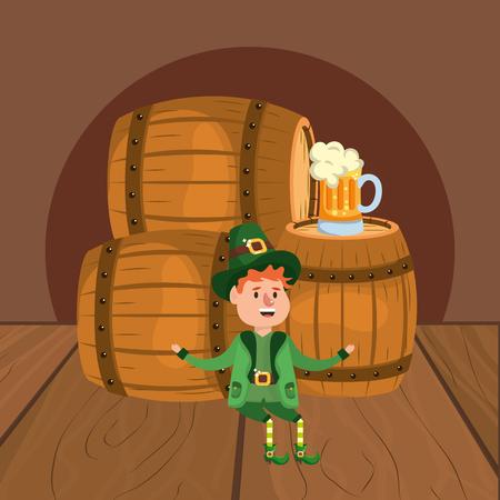 leprechaun beer barrel stock vector illustration