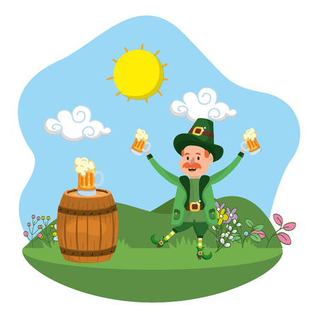 leprechaun beer barrel celebration vector illustration