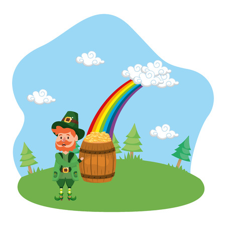 leprechaun gold barrel rainbow vector illustration  イラスト・ベクター素材