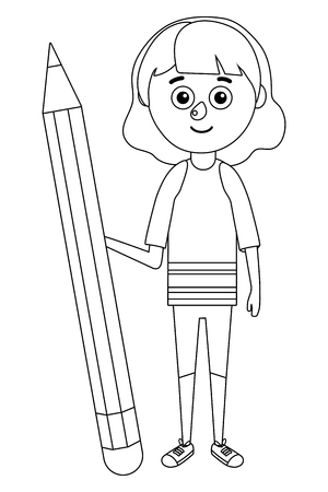 young girl big pencil vector ilustration