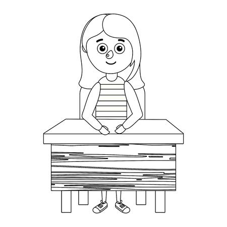 young girl student desktop vector ilustration Illustration