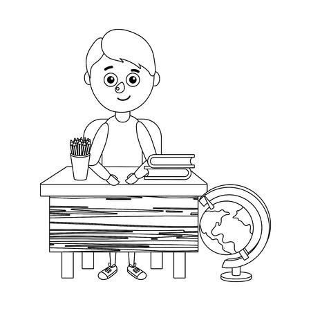 young boy student desktop vector ilustration