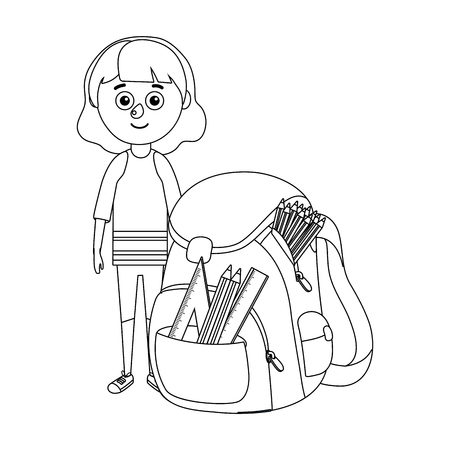 young girl school bagpack vector ilustration