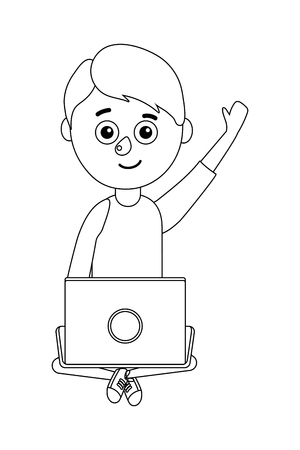 young boy student holding computer vector ilustration Ilustrace