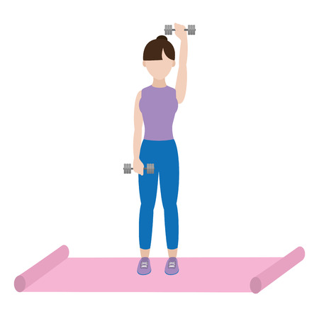 fit woman doing exercise over mat cartoon vector illustration graphic design