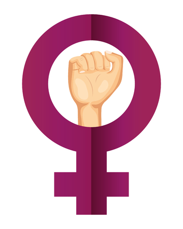 female sign icon with clenched fist held vector illustration graphic design