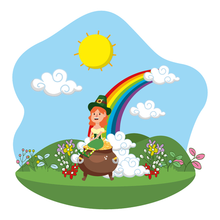 leprechaun with pot of gold female rainbow ruralscape vector illustration graphic design
