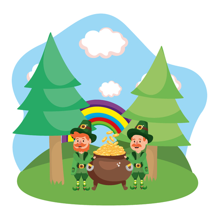 leprechauns with pot of gold rainbow ruralscape vector illustration graphic design