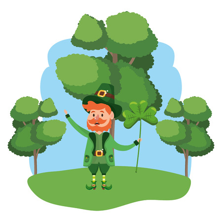 leprechaun with clover beard wooded landscape vector illustration graphic design