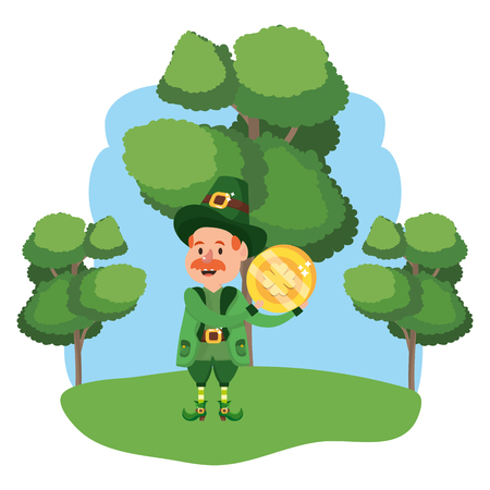leprechaun with golden coin moustache wooded landscape vector illustration graphic design