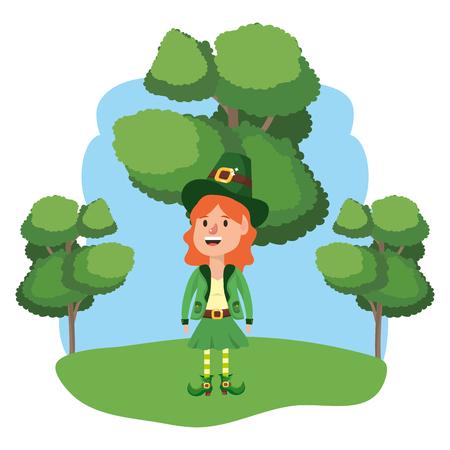 leprechaun female avatar wooded landscape vector illustration graphic design Ilustração